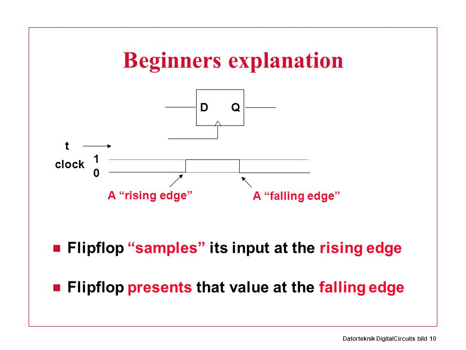 Datorteknik DigitalCircuits bild 10 Beginners explanation Flipflop samples its input at the rising edge Flipflop presents that value at the falling edge D Q t clock 1 0 A rising edge A falling edge
