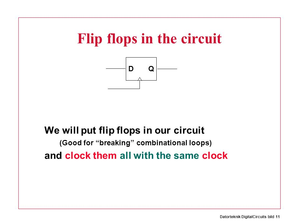 Datorteknik DigitalCircuits bild 11 Flip flops in the circuit We will put flip flops in our circuit (Good for breaking combinational loops) and clock them all with the same clock D Q