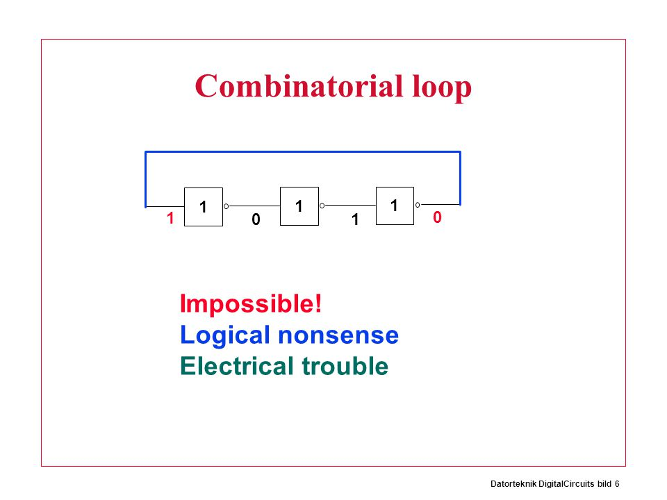 Datorteknik DigitalCircuits bild 6 Combinatorial loop 1 1 1 1 0 1 0 Impossible.