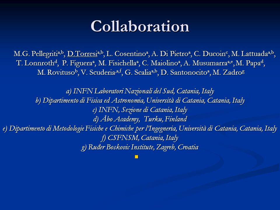 Collaboration M.G. Pellegriti a,b, D.Torresi a,b, L. Cosentino a, A. Di Pietro a, C. Ducoin c, M. Lattuada a,b, M.G. Pellegriti a,b, D.Torresi a,b, L.