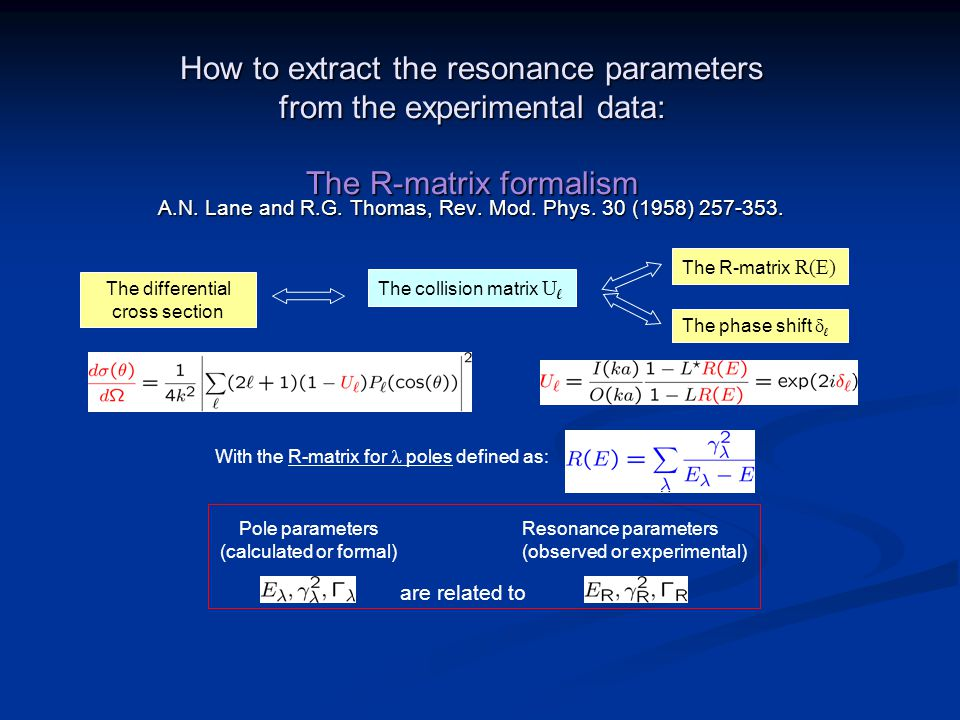 How to extract the resonance parameters from the experimental data: The R-matrix formalism A.N.