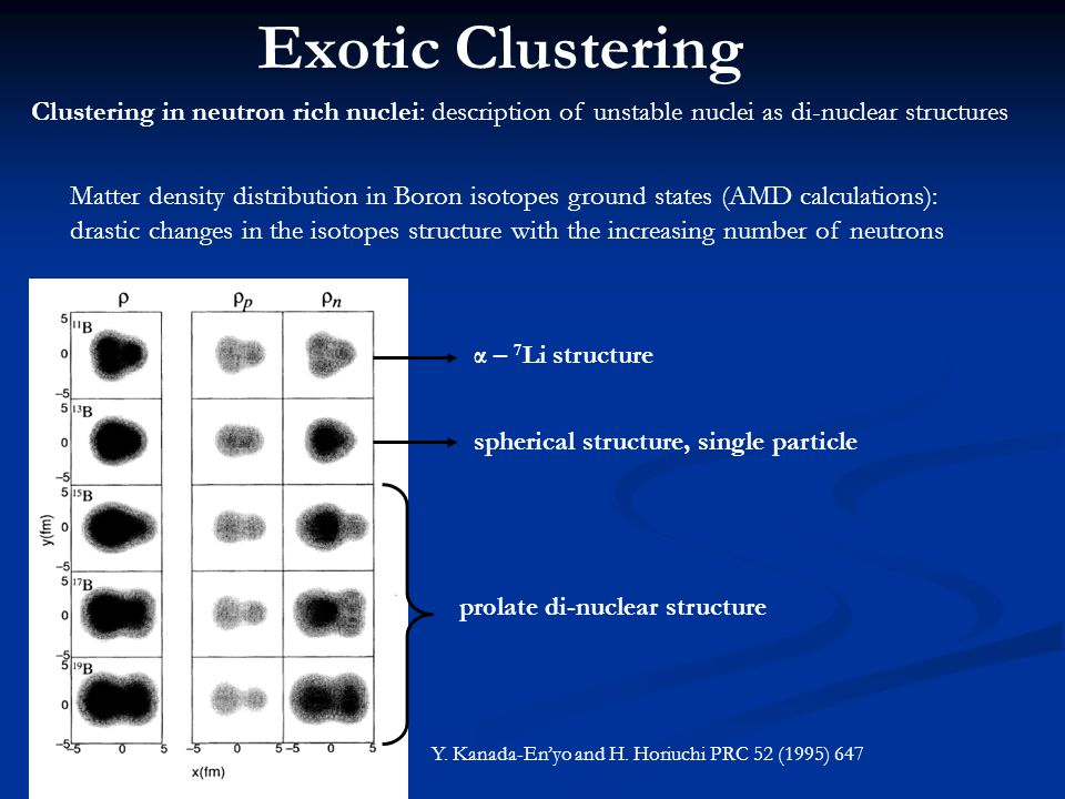 Exotic Clustering Clustering in neutron rich nuclei: description of unstable nuclei as di-nuclear structures Matter density distribution in Boron isotopes ground states (AMD calculations): drastic changes in the isotopes structure with the increasing number of neutrons α – 7 Li structure spherical structure, single particle prolate di-nuclear structure Y.
