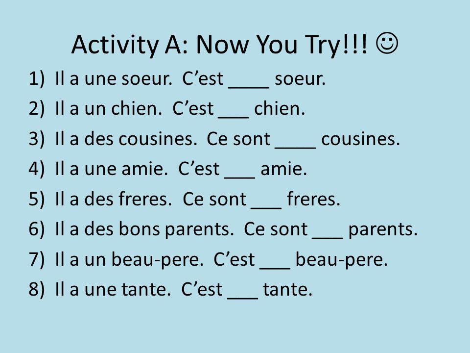 Activity A: Now You Try!!. 1)Il a une soeur. C'est ____ soeur.