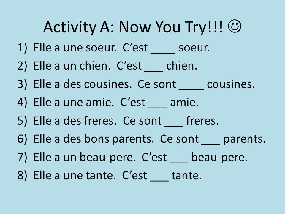 Activity A: Now You Try!!. 1)Elle a une soeur. C'est ____ soeur.