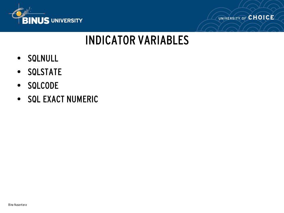 Bina Nusantara INDICATOR VARIABLES SQLNULL SQLSTATE SQLCODE SQL EXACT NUMERIC