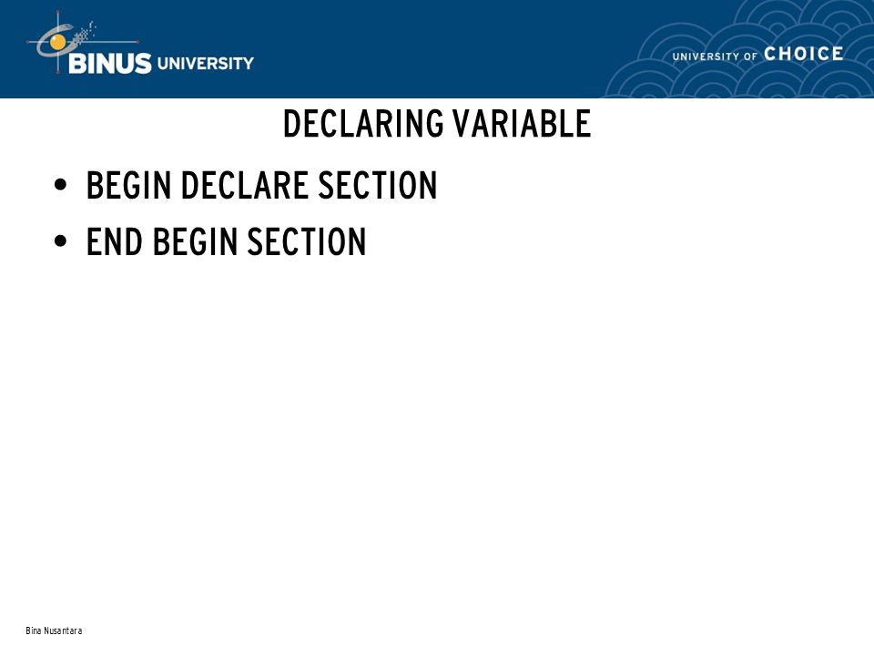 Bina Nusantara DECLARING VARIABLE BEGIN DECLARE SECTION END BEGIN SECTION