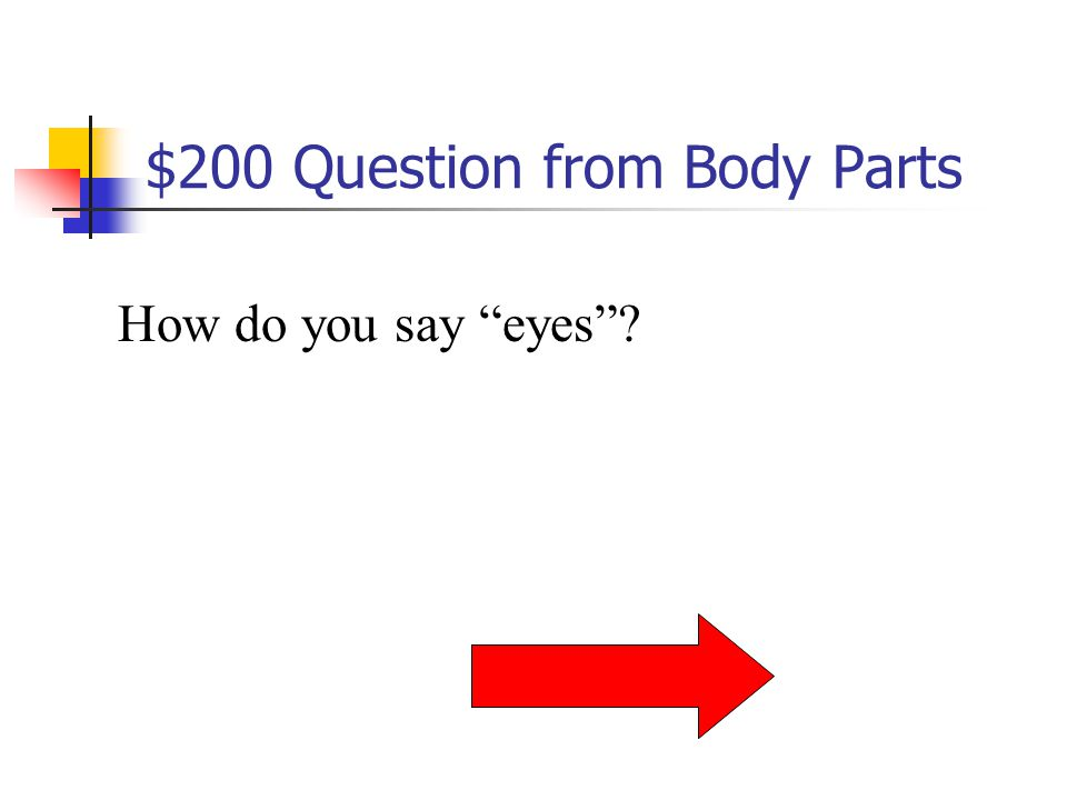 $100 Answer from Body Parts Les cheveux