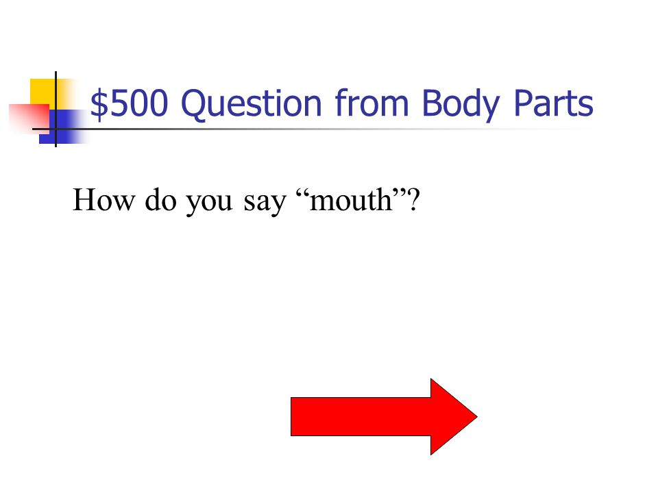$400 Answer from Body Parts Le nez