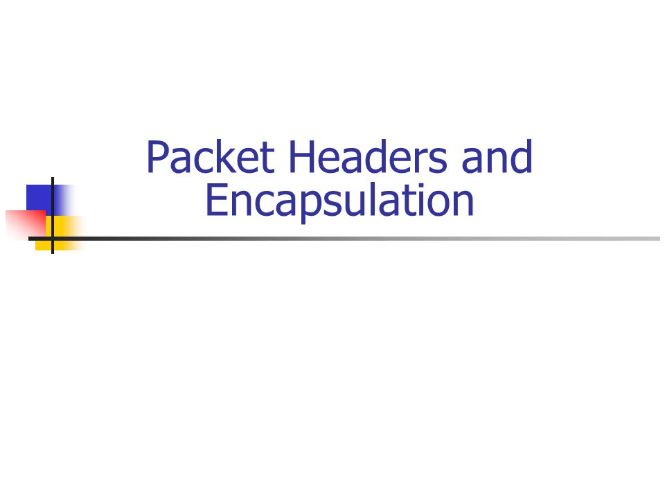 Packet Headers and Encapsulation