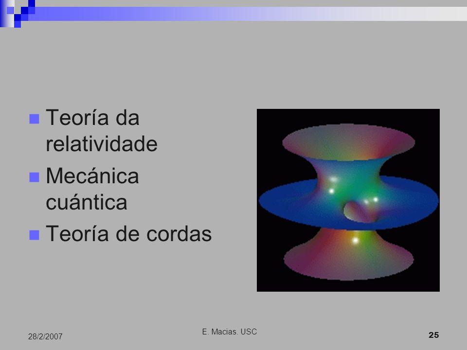 E. Macias. USC 25 28/2/2007 Teoría da relatividade Mecánica cuántica Teoría de cordas