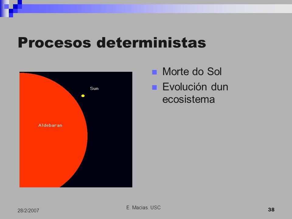 E. Macias. USC 38 28/2/2007 Procesos deterministas Morte do Sol Evolución dun ecosistema