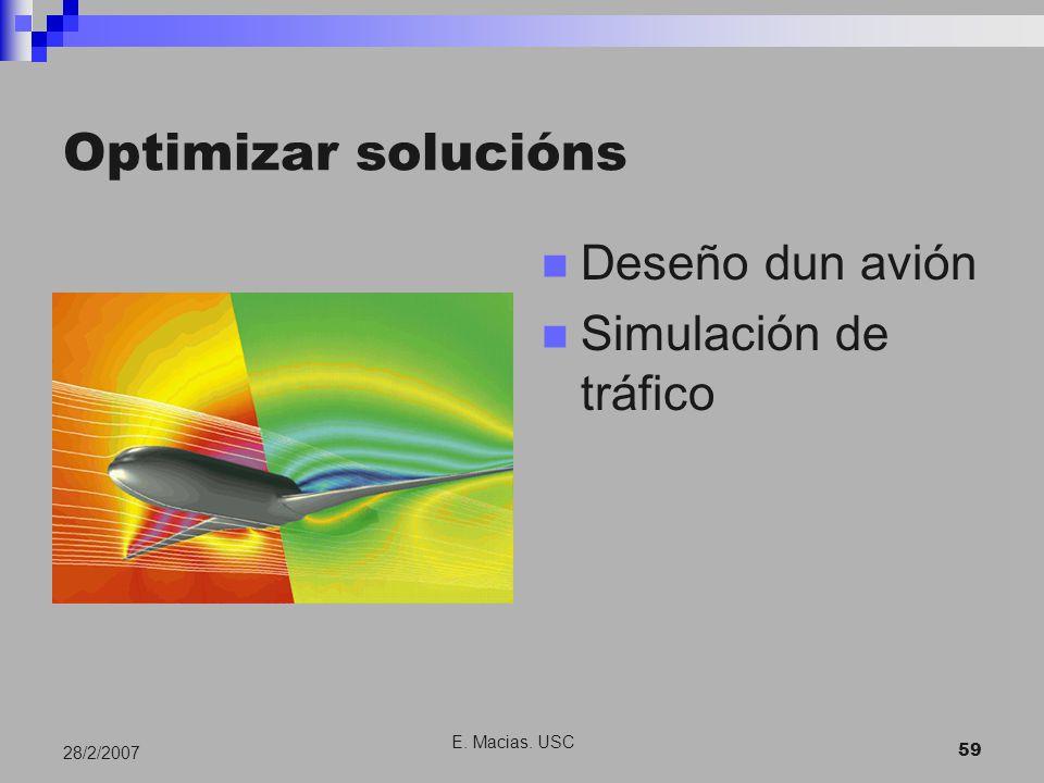 E. Macias. USC 59 28/2/2007 Optimizar solucións Deseño dun avión Simulación de tráfico