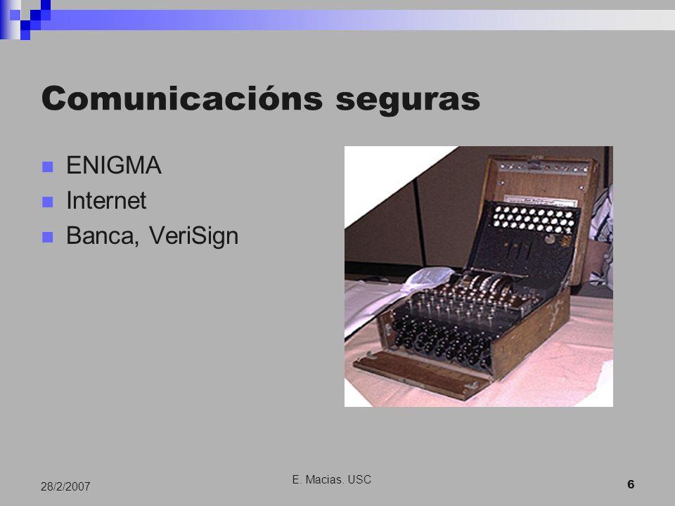 E. Macias. USC 6 28/2/2007 Comunicacións seguras ENIGMA Internet Banca, VeriSign