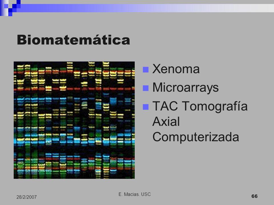 E. Macias. USC 66 28/2/2007 Biomatemática Xenoma Microarrays TAC Tomografía Axial Computerizada