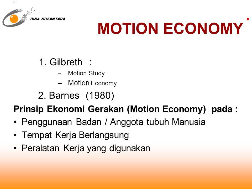 BINA NUSANTARA MOTION ECONOMY 1. Gilbreth : –Motion Study –Motion Economy 2.