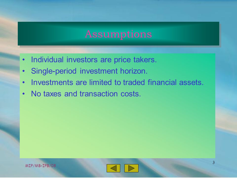 MIP/MB-IPB/08 3 Individual investors are price takers.
