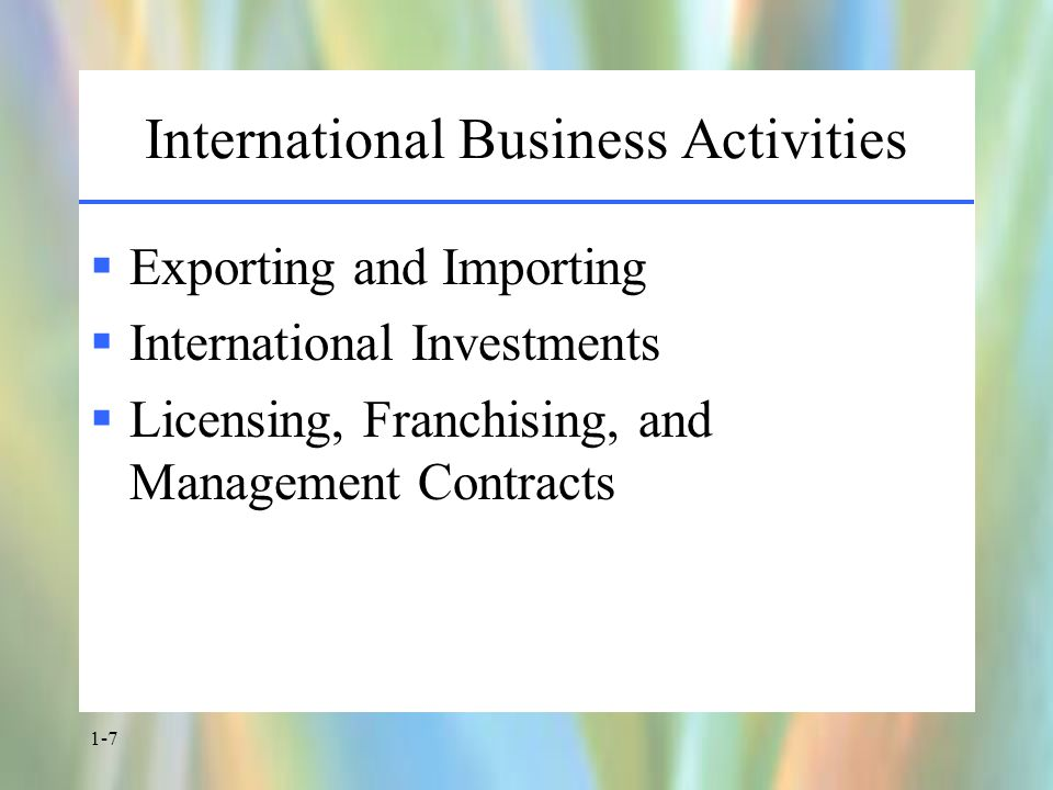 1-7 International Business Activities  Exporting and Importing  International Investments  Licensing, Franchising, and Management Contracts