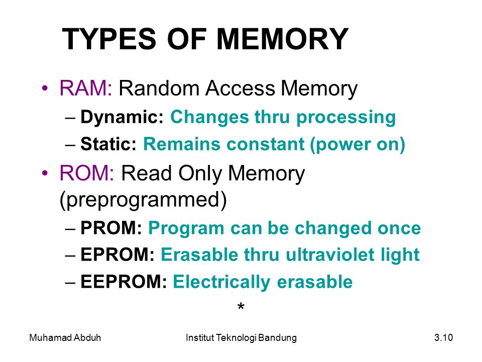 Muhamad AbduhInstitut Teknologi Bandung3.10 TYPES OF MEMORY RAM: Random Access Memory –Dynamic: Changes thru processing –Static: Remains constant (pow