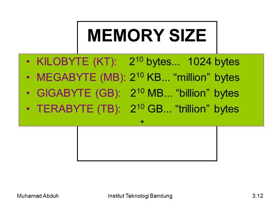 Muhamad AbduhInstitut Teknologi Bandung3.12 MEMORY SIZE KILOBYTE (KT): 2 10 bytes...