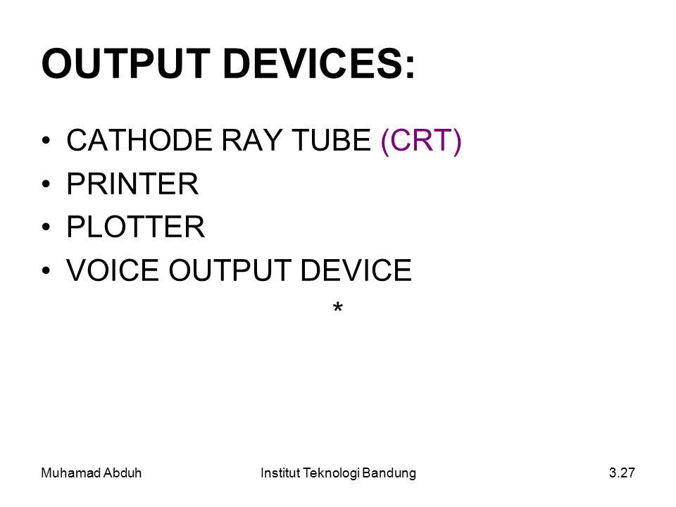 Muhamad AbduhInstitut Teknologi Bandung3.27 OUTPUT DEVICES: CATHODE RAY TUBE (CRT) PRINTER PLOTTER VOICE OUTPUT DEVICE *