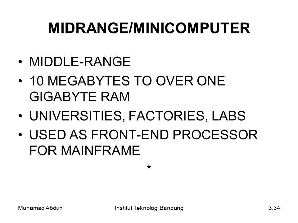 Muhamad AbduhInstitut Teknologi Bandung3.34 MIDRANGE/MINICOMPUTER MIDDLE-RANGE 10 MEGABYTES TO OVER ONE GIGABYTE RAM UNIVERSITIES, FACTORIES, LABS USED AS FRONT-END PROCESSOR FOR MAINFRAME *