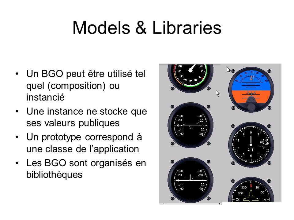 Models & Libraries Un BGO peut être utilisé tel quel (composition) ou instancié Une instance ne stocke que ses valeurs publiques Un prototype correspond à une classe de l'application Les BGO sont organisés en bibliothèques