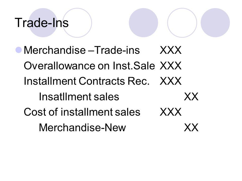 Trade-Ins Merchandise –Trade-insXXX Overallowance on Inst.SaleXXX Installment Contracts Rec.XXX Insatllment salesXX Cost of installment salesXXX Merch
