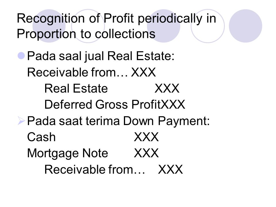 Recognition of Profit periodically in Proportion to collections Membayar biaya2 penjualan: Selling expensesXXX CashXXX  To adjust accounts for Accrued Interest.
