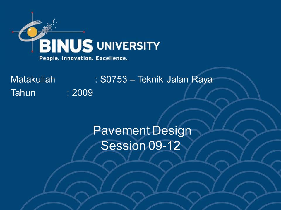 Bina Nusantara University 23 Terms – Rigid J (load transfer coefficient) –Accounts for load transfer efficiency –Lower J-factors = better load transfer –Between 3.8 (undoweled JPCP) and 2.3 (CRCP with tied shoulders) E c (PCC elastic modulus) –4,000,000 psi is a good estimate k (modulus of subgrade reaction) –Estimates the support of the PCC slab by the underlying layers –Usually between 50 and 1000 psi/inch