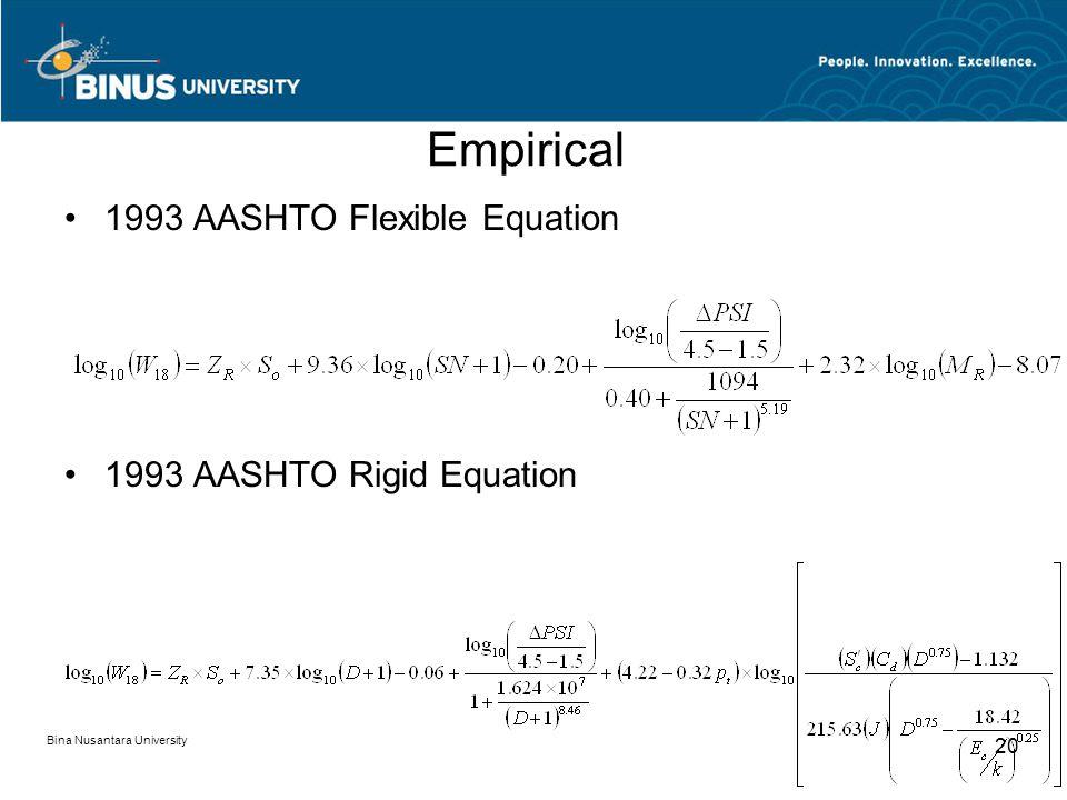 Bina Nusantara University 20 Empirical 1993 AASHTO Flexible Equation 1993 AASHTO Rigid Equation