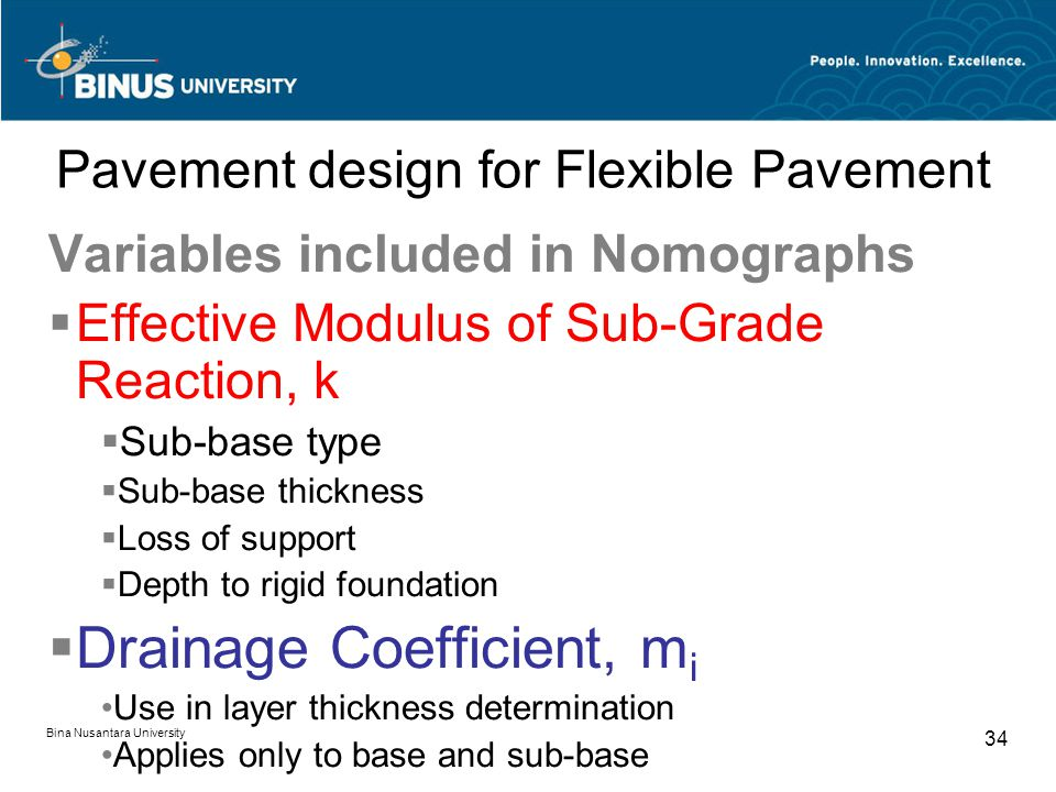 Bina Nusantara University 34 Pavement design for Flexible Pavement Variables included in Nomographs  Effective Modulus of Sub-Grade Reaction, k  Sub-base type  Sub-base thickness  Loss of support  Depth to rigid foundation  Drainage Coefficient, m i Use in layer thickness determination Applies only to base and sub-base