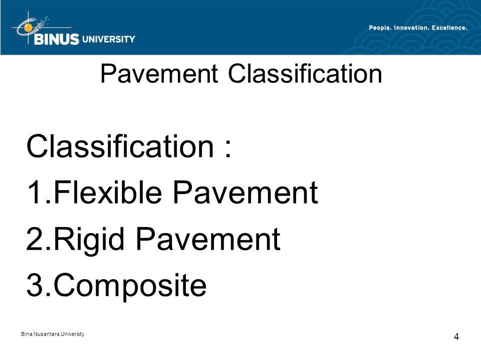 Bina Nusantara University 5 Flexible Pavement Those which are surfaced with bituminous / asphalt materials.