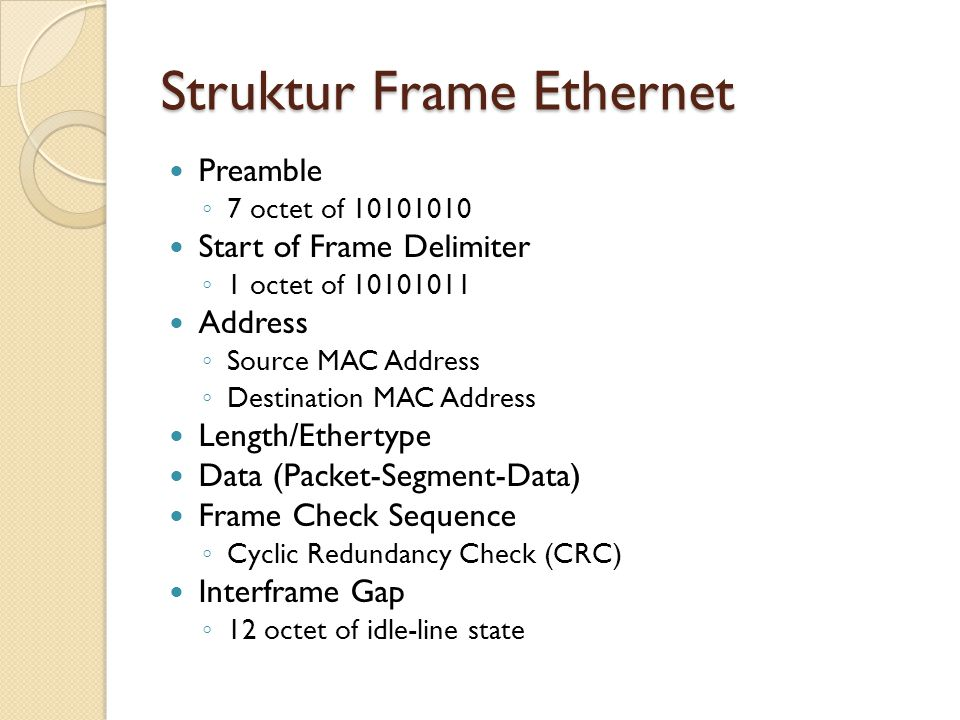 Struktur Frame Ethernet Preamble ◦ 7 octet of 10101010 Start of Frame Delimiter ◦ 1 octet of 10101011 Address ◦ Source MAC Address ◦ Destination MAC Address Length/Ethertype Data (Packet-Segment-Data) Frame Check Sequence ◦ Cyclic Redundancy Check (CRC) Interframe Gap ◦ 12 octet of idle-line state
