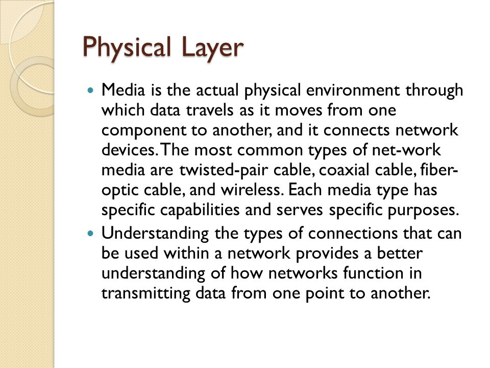 Media is the actual physical environment through which data travels as it moves from one component to another, and it connects network devices.