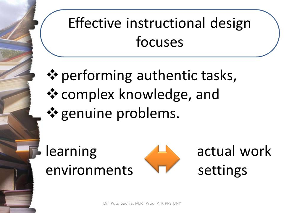 Effective instructional design focuses Dr. Putu Sudira, M.P.