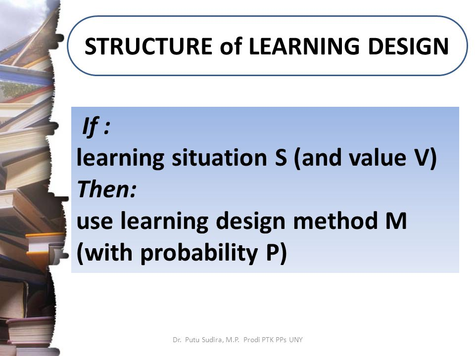 STRUCTURE of LEARNING DESIGN Dr. Putu Sudira, M.P.