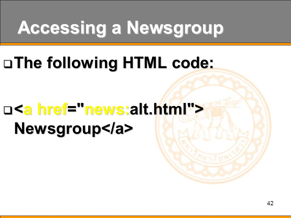 42 Accessing a Newsgroup  The following HTML code:  Newsgroup  Newsgroup