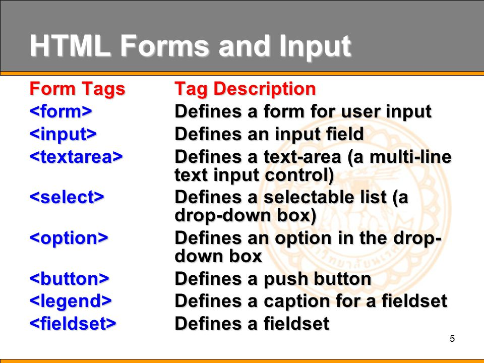 5 HTML Forms and Input Form Tags Tag Description Defines a form for user input Defines a form for user input Defines an input field Defines an input field Defines a text-area (a multi-line text input control) Defines a text-area (a multi-line text input control) Defines a selectable list (a drop-down box) Defines a selectable list (a drop-down box) Defines an option in the drop- down box Defines an option in the drop- down box Defines a push button Defines a push button Defines a caption for a fieldset Defines a caption for a fieldset Defines a fieldset Defines a fieldset
