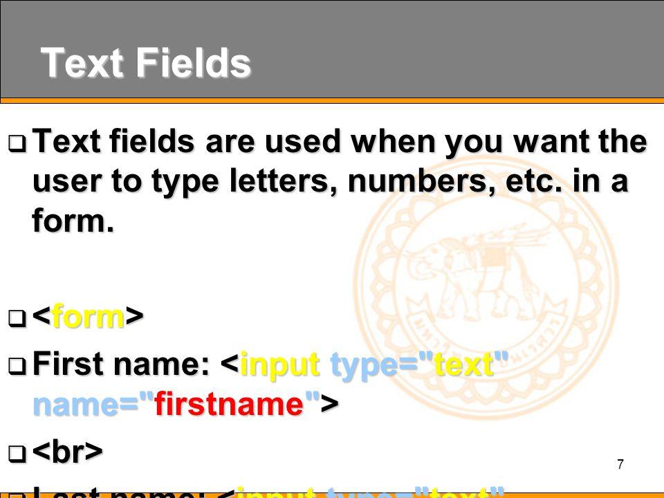 18 Method  method คือวิธีในการส่งค่าระหว่าง form ประกอบด้วย  get  post  method= get เป็นการส่งค่าไปยัง เว็บเพจเป้าหมายที่กำหนดไว้ โดย จะแสดงรายละเอียดของข้อมูลที่ ส่งไปผ่านทาง Address Bar ของ Web Browser  method= post เป็นการส่งค่าไป ยัง เว็บเพจเป้าหมายที่กำหนดไว้ โดยจะไม่แสดงรายละเอียดของ ข้อมูล