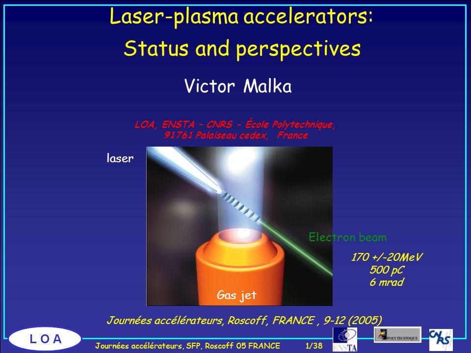 L O A Journées accélérateurs, Roscoff, FRANCE, 9-12 (2005) Laser-plasma accelerators: Status and perspectives Victor Malka LOA, ENSTA – CNRS - École Polytechnique, 91761 Palaiseau cedex, France Journées accélérateurs, SFP, Roscoff 05 FRANCE 1/38 170 +/-20MeV 500 pC 6 mrad Gas jet laser Electron beam