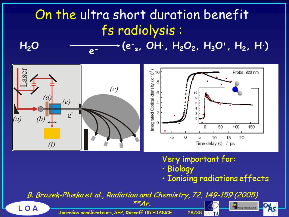 L O A On the ultra short duration benefit fs radiolysis : H 2 O (e - s, OH., H 2 O 2, H 3 O +, H 2, H.