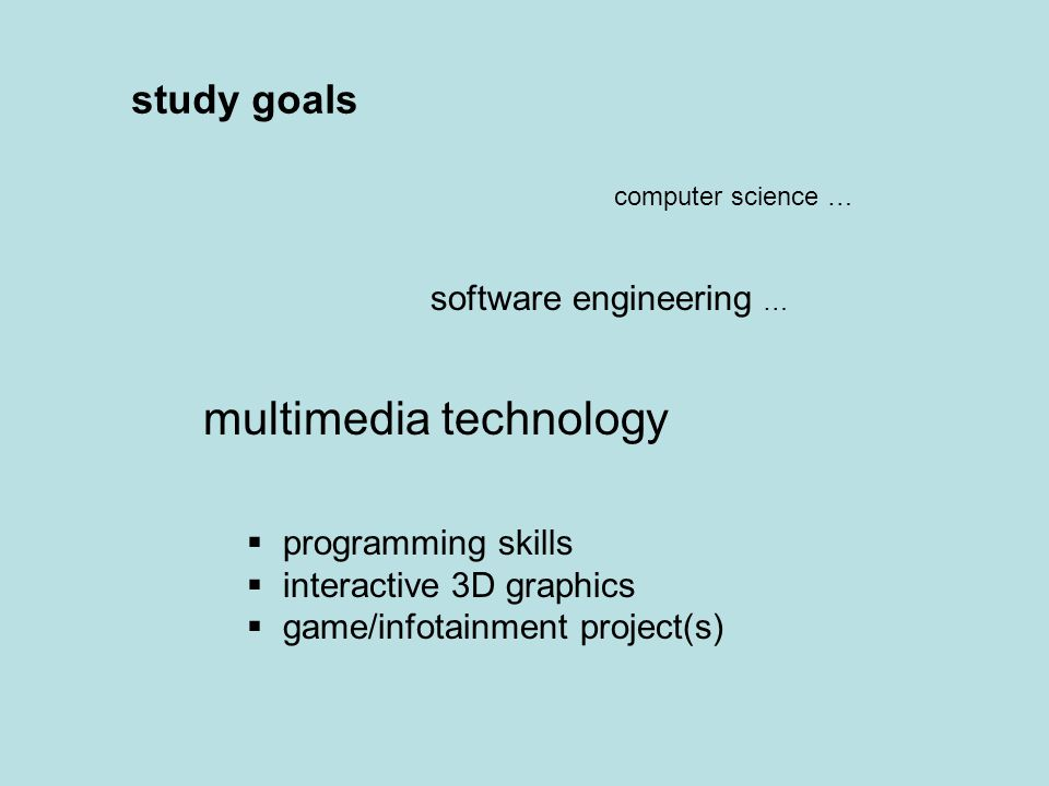study goals computer science … software engineering … multimedia technology  programming skills  interactive 3D graphics  game/infotainment project(s)