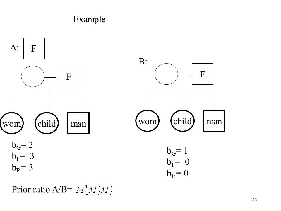25 F F F b G = 2 b I = 3 b P = 3 b G = 1 b I = 0 b P = 0 Example Prior ratio A/B= A: B: childwommanchildwomman
