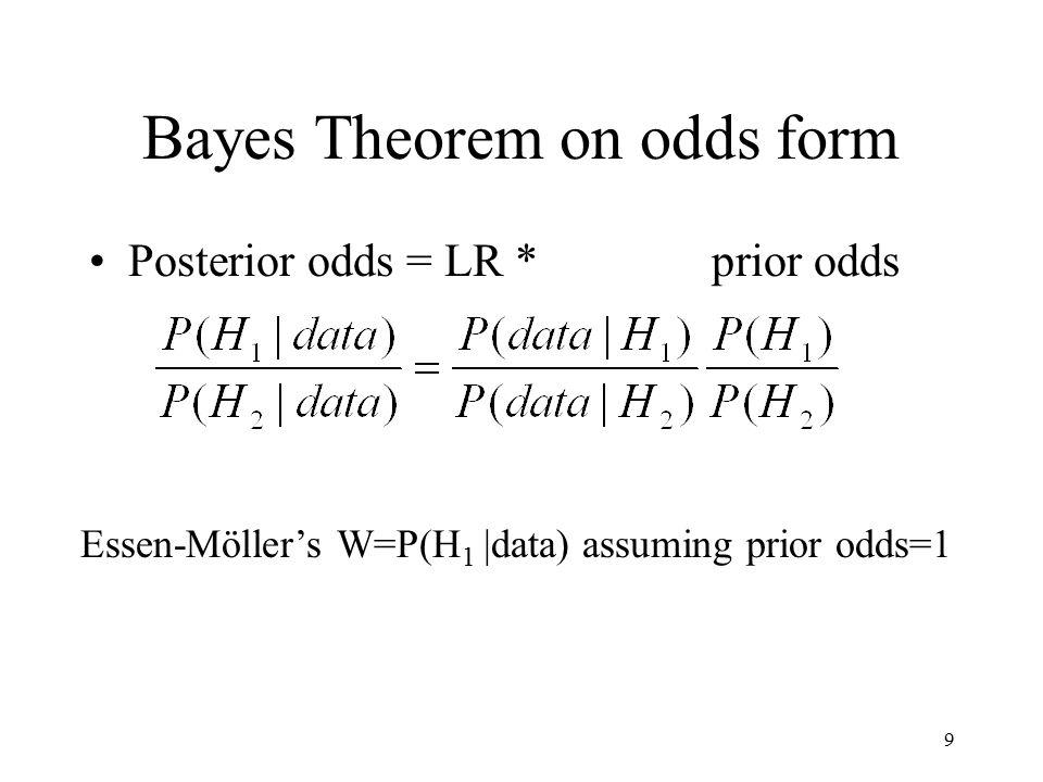9 Bayes Theorem on odds form Posterior odds = LR * prior odds Essen-Möller's W=P(H 1 |data) assuming prior odds=1
