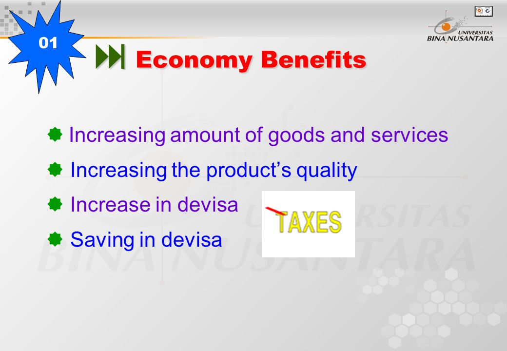 Economy Benefits  Increasing amount of goods and services  Increasing the product's quality  Increase in devisa  Saving in devisa 01