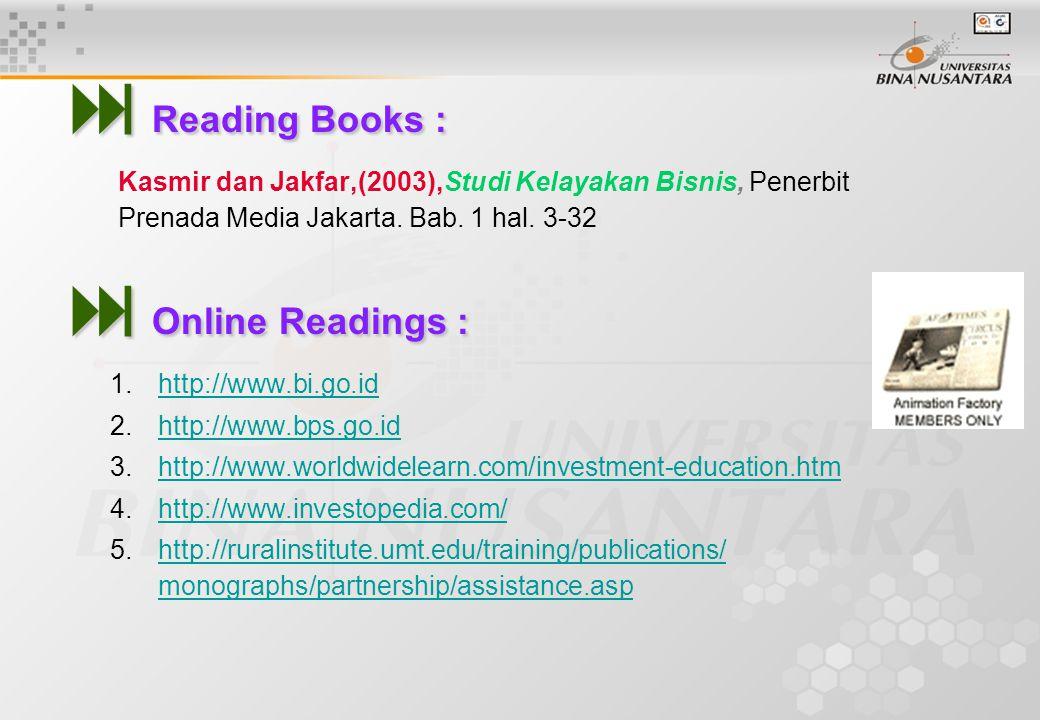  Reading Books : Kasmir dan Jakfar,(2003),Studi Kelayakan Bisnis, Penerbit Prenada Media Jakarta. Bab. 1 hal. 3-32  Online Readings : 1.http://www.b