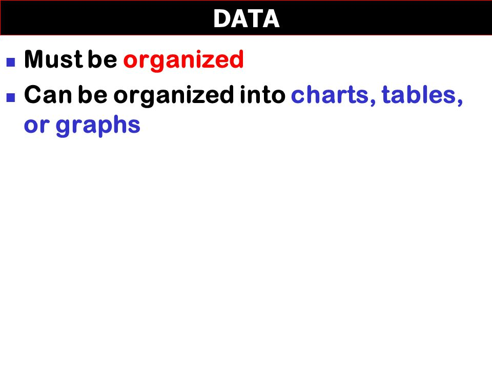 Must be organized Can be organized into charts, tables, or graphs DATA