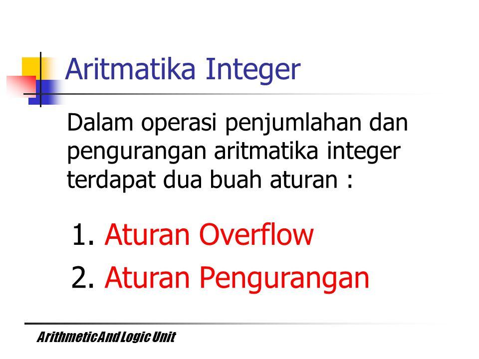 Arithmetic And Logic Unit Dalam operasi penjumlahan dan pengurangan aritmatika integer terdapat dua buah aturan : Aritmatika Integer 1. Aturan Overflo