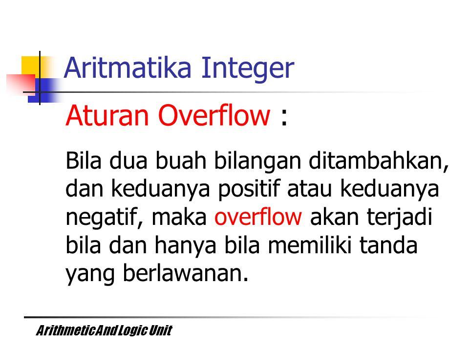 Arithmetic And Logic Unit Bila dua buah bilangan ditambahkan, dan keduanya positif atau keduanya negatif, maka overflow akan terjadi bila dan hanya bi