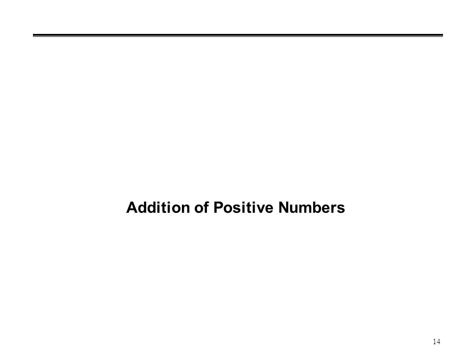 14 Addition of Positive Numbers